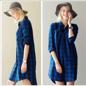 Madewell Latitude Shirtdress Blue Buffalo Plaid